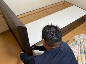 大津市マンションの生前整理、ベッドの移設に伴い解体を行っております